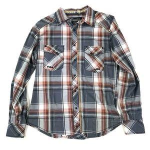 Buckle Black Snap Button Long Sleeve Shirt S